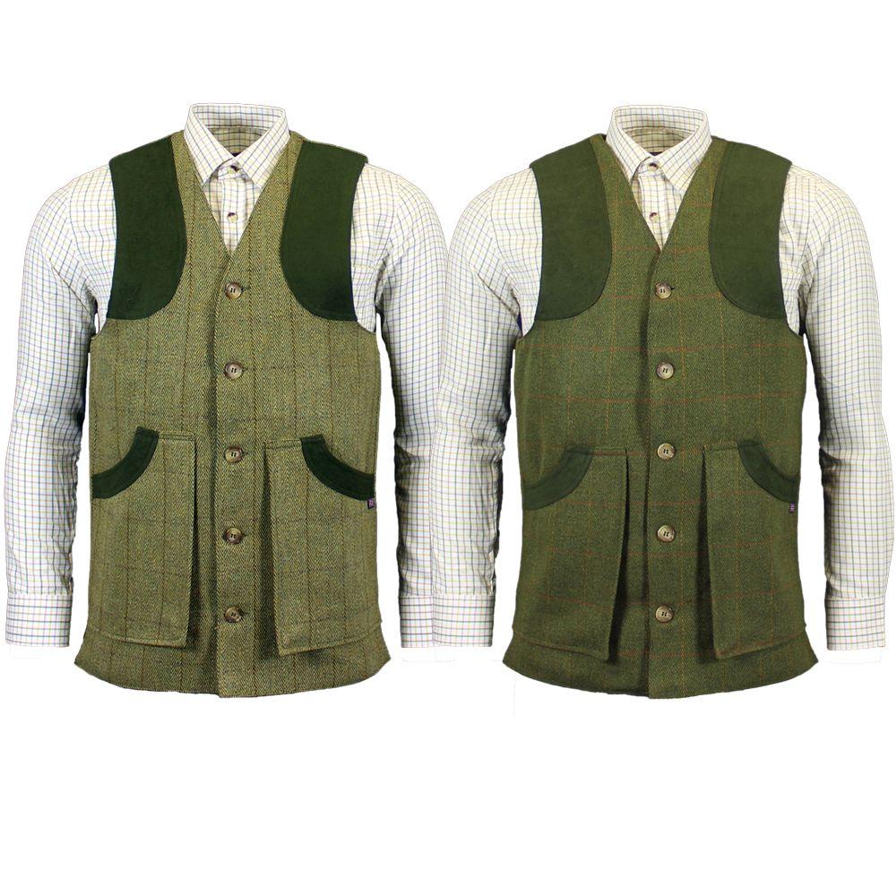 tweedväst för skytte i mörkgrön och ljusgrön för jakt